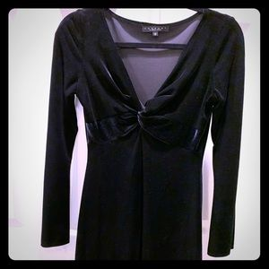 Long Sleeve Black Velour Dress